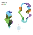 Abstract color map of Tunisia vector image