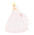 Beautiful blond bride with flowers vector image