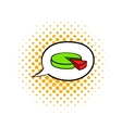 Speech bubble with a pie chart icon comics style vector image vector image