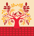 Autumn tree with love message vector image vector image