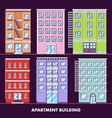 Apartment building flat design minimalist and full vector image
