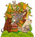 dog characters group cartoon vector image