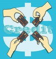Hands holding the Credit Card vector image