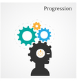 Human head and gear abstract design vector image
