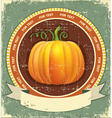 Pumpkin label with scroll for text vintage icon on vector image vector image