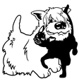 cartoon west terrier and cat black white vector image vector image