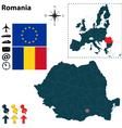 Romania and European Union map vector image vector image