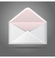 Blank white opened envelope Isolated on grey vector image