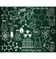 Chemistry icons and formulas on the school board vector image