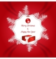Christmas red card with a white tag For vector image