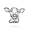 hand drawn cow on white background farm animal vector image