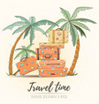 hand drawn holiday travel card vector image