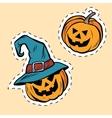 Set of stickers Halloween evil pumpkin vector image