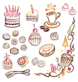 muffins donuts cakes sweets vector image