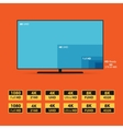 Flat 8K screen with set of HD stickers vector image vector image