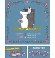 Wedding invitation with wedding dressfloral decor vector image vector image