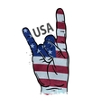 hand gesture cool rock and roll flag of USA vector image