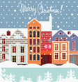 Winter street christmas postcard vector image