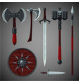 antique edged weapons collection game design set vector image