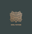 owl totem abstract sign emblem or logo vector image