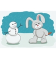 Snowman and bunny vector image
