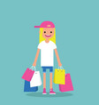 young trendy girl holding shopping bags flat vector image
