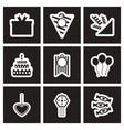 set of black and white icons celebration vector image