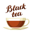 black tea with cup of tea and hand vector image vector image