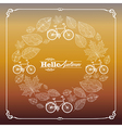 Vintage hello autumn text leaves and bikes vector image