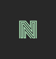Hipster initial N letter logo monogram green vector image vector image