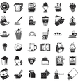 Breakfast food black icons collection vector image