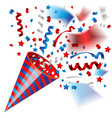 colorful party popper for independence of usa vector image