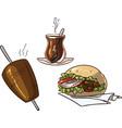 doner kebab set with turkish tea kebab skewer and vector image