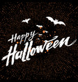 happy halloween dark background with orange vector image