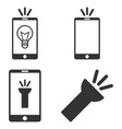 mobile torch flat icon set vector image