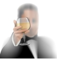Successful businessman toasting with wine on white vector image