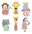 Set of princess animals vector image