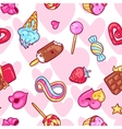 Seamless kawaii pattern with sweets and candies vector image vector image