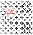 Royal lily flower fleur-de-lis floral patterns set vector image