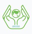 Hand holding world logo design safety care vector image
