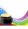 Leprechaun pot of gold on rainbow background vector image