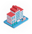 Hospital building Isometric 3d pixel design icon vector image