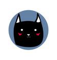 black cute cartoon style cat shape blue circle vector image