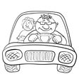 car driver and passenger contours vector image