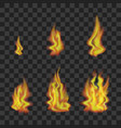 fire set on transparent background vector image