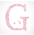 G letter Alphabet from pink petals of rose vector image