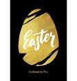 Gold Foil Happy Easter Greeting Egg Card vector image