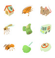 insect extermination icons set cartoon style vector image