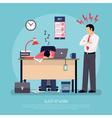 Sleeping At Work Flat Poster vector image