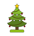 white background with decorated christmas tree vector image